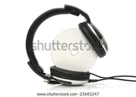 headphones with compact disc - stock photo