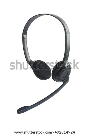 Headphones with Mic Isolated on White