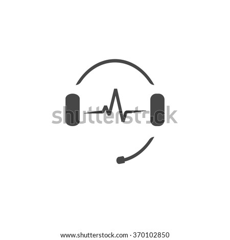 Headphones with microphone and sound waves beats, concept of radio station logo, dj disco symbol, broadcasting studio label, customer support emblem flat back icon, modern design illustration image - stock photo