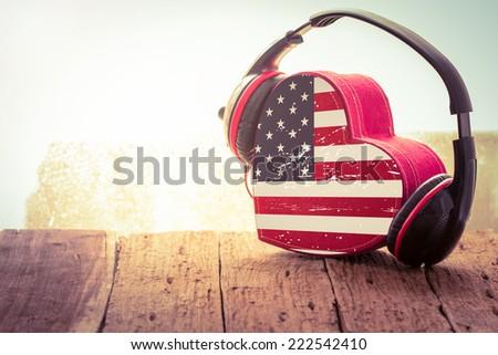 Headphones with USA   heart. music of love. vintage retro - stock photo
