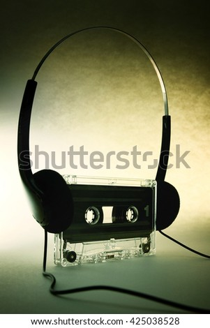 headphones with vintage cassette - stock photo