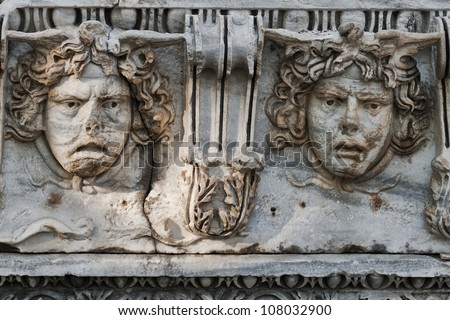 heads of Medea of the historic amphitheater at town Side