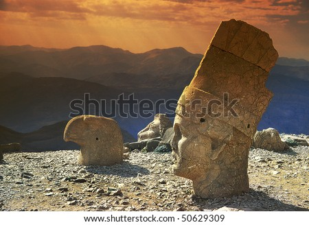 Heads of the statues on Mount Nemrut in Turkey, UNESCO - stock photo