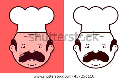 Heads of two fun cartoon chefs wearing white toques with sausages balanced on their upper lips as mustaches in different color variants - stock photo