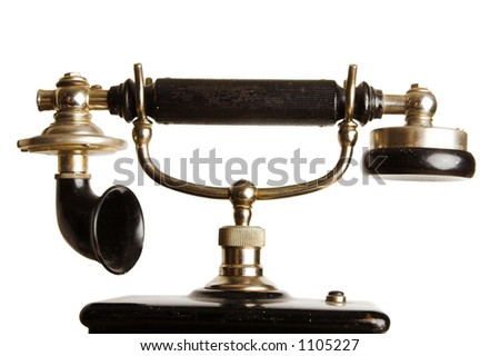 Headset of an antique telephone against a white background - stock photo