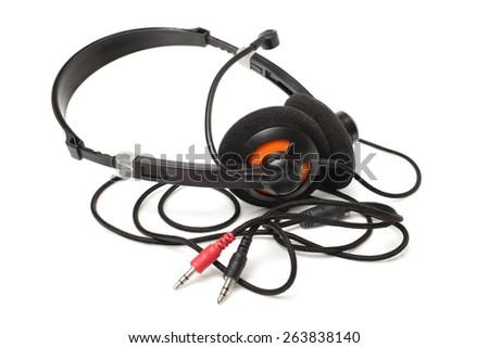 Headset on the white background - stock photo