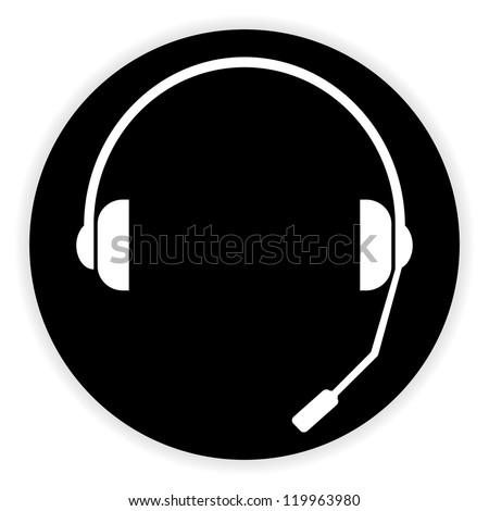 headset symbol - stock photo