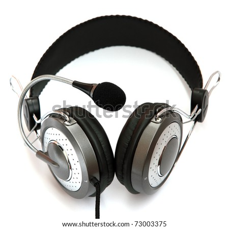 Headset with microphone gray isolated on a white background. - stock photo