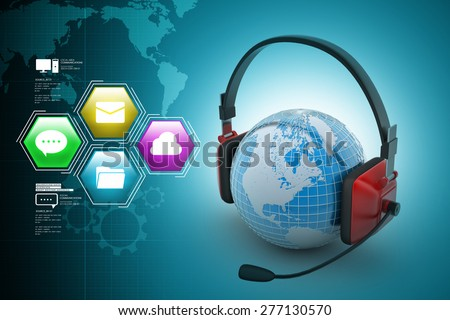 Headset with world globe. Concept for online chat - stock photo