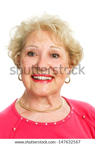 Headshot of a beautiful blond senior lady, isolated on white.