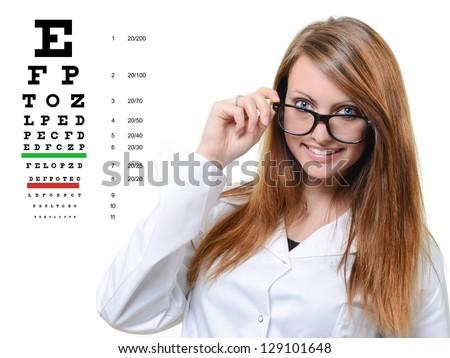 headshot of a beautiful smiling woman holding eyeglasses - stock photo