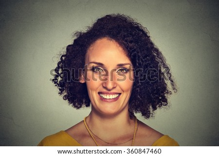 Headshot of a happy smiling woman - stock photo