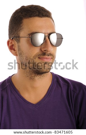 Headshot of a young man wearing aviator sunglasses, isolated on white - stock photo