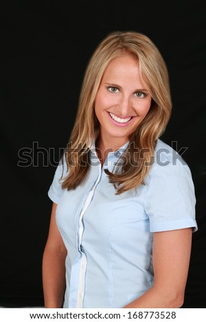 headshot of beautiful, healthy young woman with great teeth - stock photo
