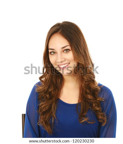 headshot of beautiful young woman with long hair isolated on white - stock photo