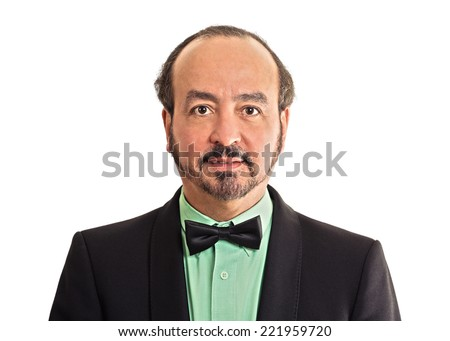 headshot portrait mature gentleman handsome man in elegant black suit wearing bow tie isolated on white background. Positive face expression handsome man in elegant black suit - stock photo