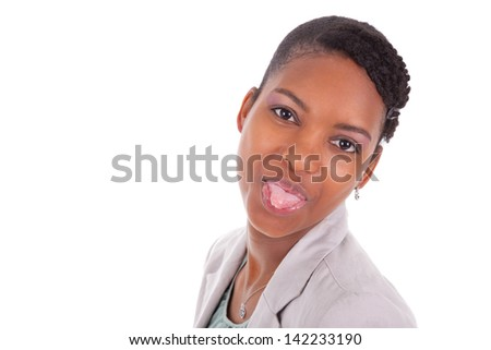 Headshot portrait of a young african american business woman making tongue out,isolated on white background - stock photo