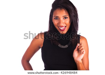 Headshot portrait of a young african american woman making tongue out,isolated on white background - stock photo