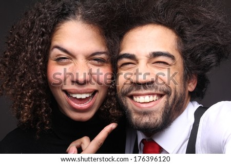 Headshots Happy love couple  - stock photo