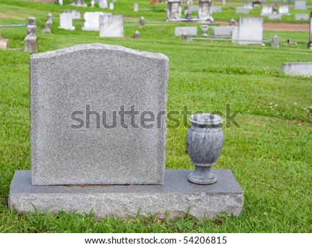 Headstone and vase - stock photo