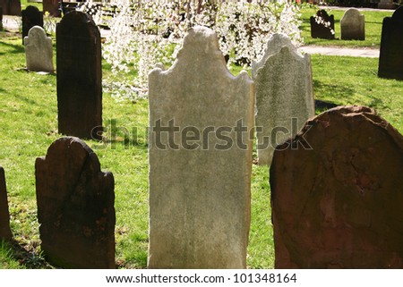 Headstones in a very old church in New York City - stock photo