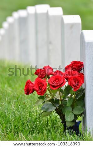 Headstones in Arlington National Cemetery - Washington DC United States - stock photo