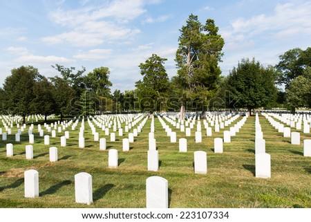 headstones in arlington National Cemetery, Washington DC, united states - stock photo