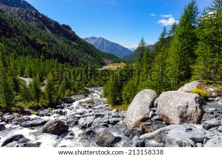 Headwaters of the creek Evancon - Ayas Valley - Aosta Valley - stock photo