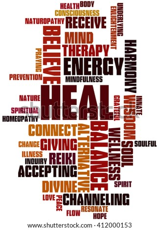 Heal, word cloud concept on white background.