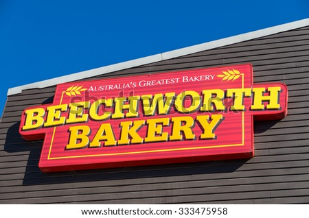 Healesville, Australia - October 28, 2015: Beechworth Bakery is a bakery franchise business in country Victoria. This Beechworth Bakery is in Yarra Valley town of Healesville.