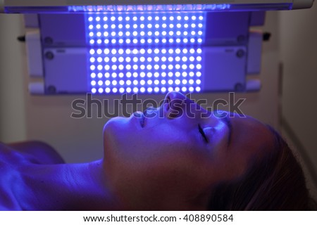 healing blue light therapy session - stock photo
