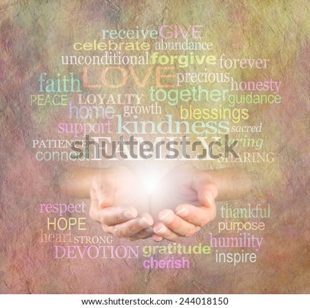 Healing Family Words - Female hands cupped with the word FAMILY floating above surrounded by a word cloud of family related words on a stone effect background                             - stock photo
