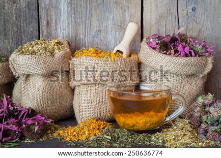Healing herbs in hessian bags and healthy tea cup, herbal medicine. - stock photo