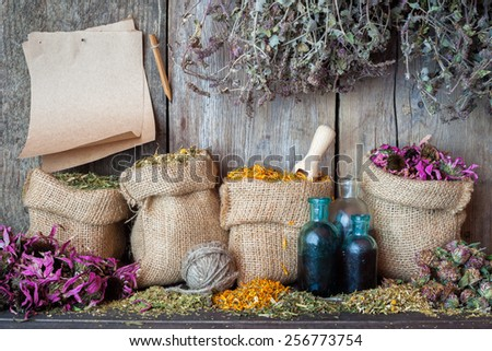 Healing herbs in hessian bags, paper sheet and bottles near wooden wall, herbal medicine. - stock photo
