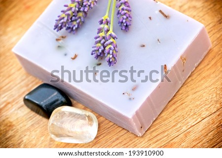 Healing soap of lavender - stock photo