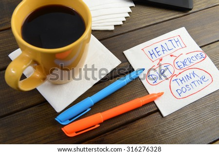 health analise diet exercise think positive -  handwriting on a napkin with a cup of coffee and phone - stock photo