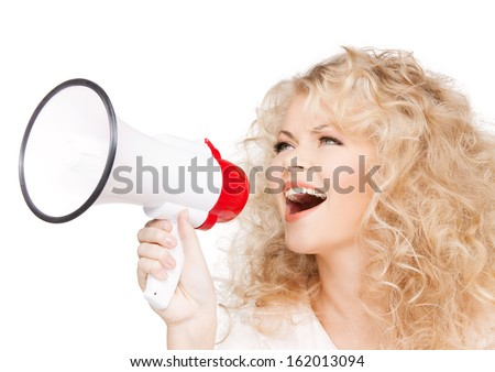 health and beauty concept - beautiful woman with long curly hair holding megaphone - stock photo