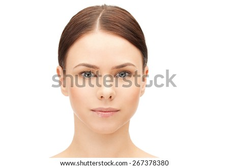 health and beauty concept - clean face of beautiful young woman