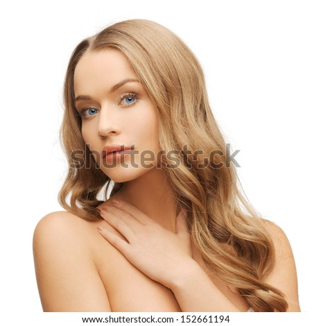 health and beauty concept - face of beautiful woman with long hair - stock photo