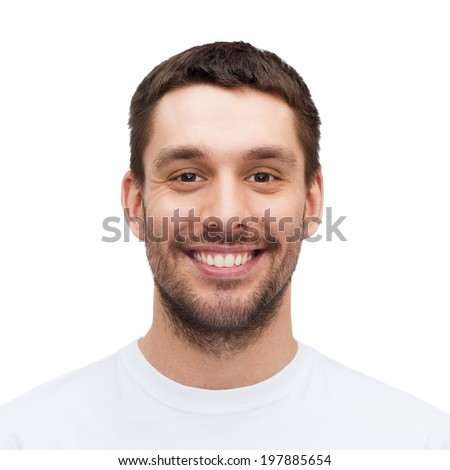 health and beauty concept - portrait of smiling young handsome man - stock photo
