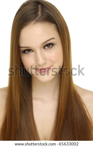 Health and beauty. Fashion woman model with perfect long hair - stock photo