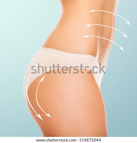 health and beauty - woman in cotton underwear showing slimming concept - stock photo