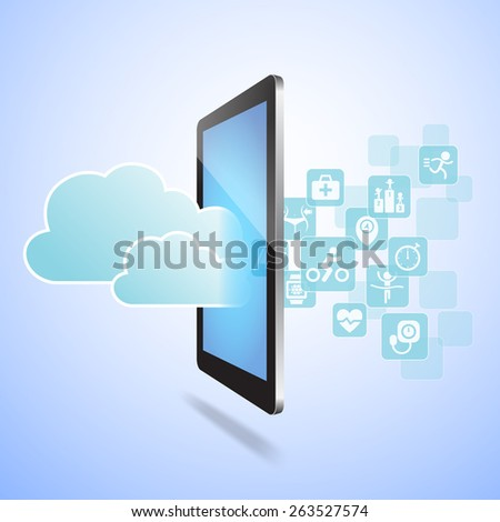 Health and Cloud Computing concept - Touch tablet pc with health icon and cloud computing - stock photo