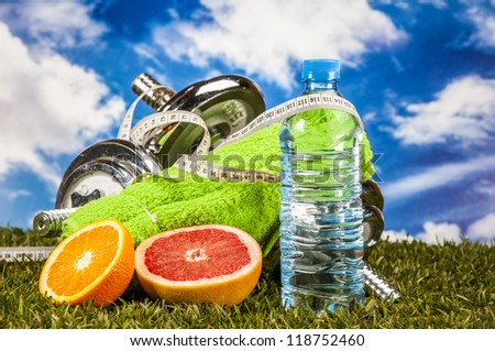 Health and fitness composition with light background