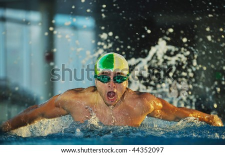 health and fitness lifestyle concept with young athlete swimmer recreating - stock photo