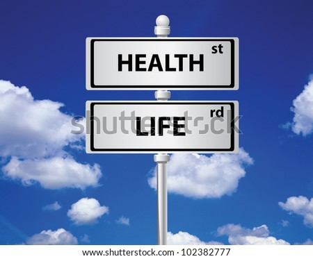 Health and life signpost on sky background