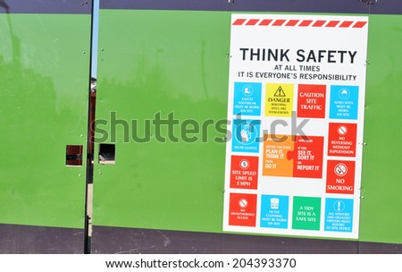 Health and safety instructions at the construction site - stock photo
