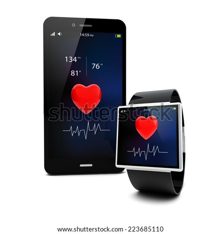 Health app connectivity concept: smart watch and touchscreen smartphone  isolated on white background - stock photo
