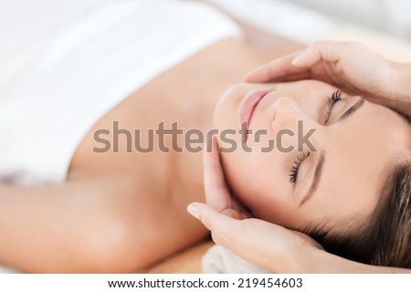 Therapeutic massage pretty face beautiful soul relax with