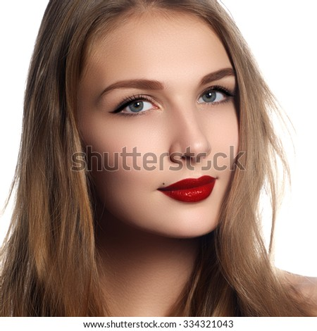 Health, beauty, wellness, haircare, cosmetics and make-up. Beautiful fashion hairstyle. Woman model with shiny straight long hair and evening retro make-up. Red lips